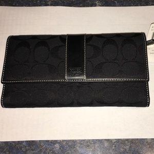Signature Jacquard & Leather Black Wallet/Clutch